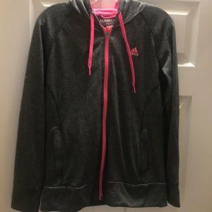 Adidas climawarm zip up hoodie gray pink SZ M